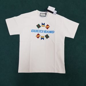 Gucci Men Gucci Band Logo Printed White Tee